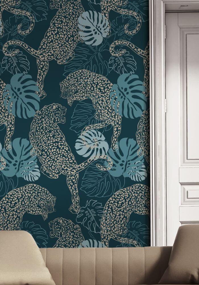 papel tapiz leopardo verde