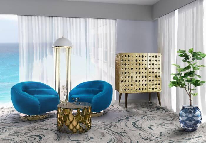 recibidor art deco sillones azul