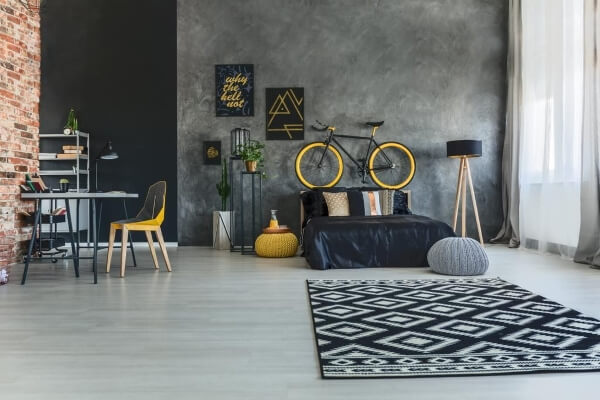 cuarto minimalista industrial moderno