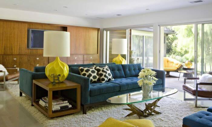 sala interiorismo mid century modern