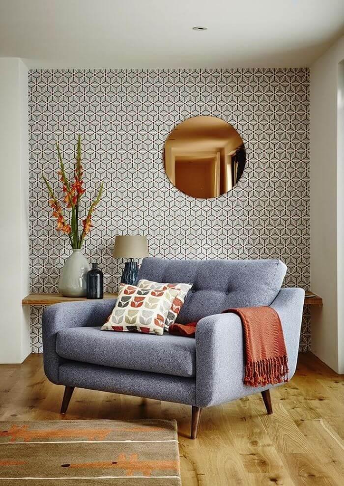 sillon espejo redondo papel tapiz