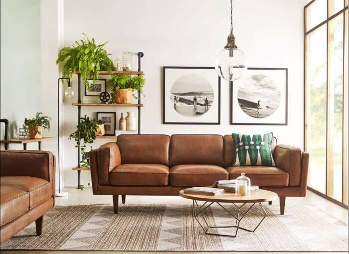 sofa piel cafe mid century decor